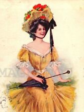R Ford Harper TYPE Pretty Lady YELLOW DRESS AND UMBRELLA  ARTIST DRAWN POSTCARD