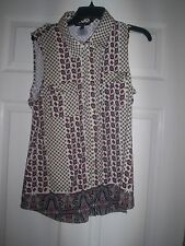 BCBG Maxazria Womens Artsy Career Button Down Tank Top Size XL ~ FREE SHIPPING