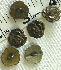 "Metal #187 Buttons Bronze 7/16"" - 11mm Flower 6pcs"