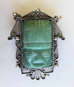 Antique Signed Mexico 900 Silver Carved Aztec Mayan Mask Green Stone Brooch 30gr