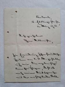 """Richard von Chelius 1858-1924 Karlsruhe / Brief an """"Rittmeister"""" 1915 Großherzog"""
