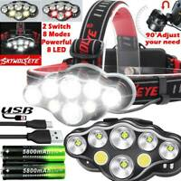 250000LM T6 LED Headlamp Headlight Torch Rechargeable Flashlight Work Light Camp