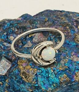 Crescent Moon + Opal (Opalite) Ring - Sterling Silver 925
