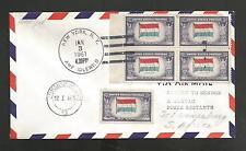 US #912 BLOCK FIRST FLIGHT NEW YORK IDLEWILD TO JOHANNESBURG AFRICA JAN 3,1961