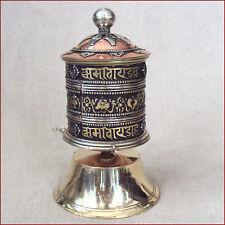 SOLID PRAYER WHEEL DESKTOP WITH  OM MANI PADME HUM SACRED 8 SYMBOLS NEPAL TIBET