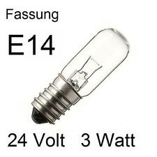 3x Glühlampe Glühbirne Lampe Röhre Spezial Ersatz E14 24V 3W 16x54mm 275416