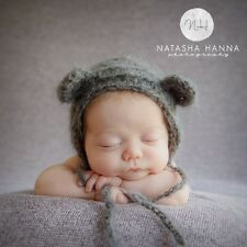 Grey mohair fluffy crochet Teddy bear Bonnet.  Photo photography prop. Newborn.