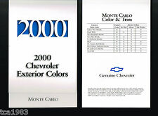2000 Chevrolet MONTE CARLO Paint Color Chip Chart Sample Brochure