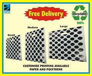 STRONG PLASTIC POLYTHENE CARRIER BAGS - POKER DOTS DESIGN CARRIER BAGS