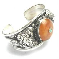 Huge Tibetan Beeswax Amber Gemstone Carved Spiral Dragon Amulet Cuff Bracelet