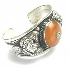 Spiral Dragon Amulet Cuff Bracelet Huge Tibetan Beeswax Amber Gemstone Carved