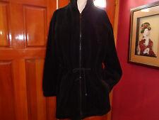BASIC EDITION black acrylic and poly fleece coat tie waist & pockets Small xlnt.