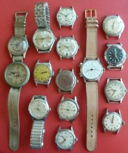 Lot of 14 Men's Vintage Wristwatches - Gruen, Bulova, Chronograph - No Reserve !