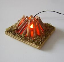Krippenzubehör flaches Lagerfeuer mit Beleuchtung E5, Hirtenfeuer, Feuerstelle