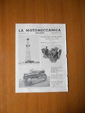 1938 LA MOTOMECCANICA MILANO TRATTORE BALILLA AGRICOLA POMPE IRRIGAZIONE MOTORI