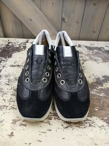 Ecco Womens Shoes Sz 41 Black Suede Leather Lace Up Comfort Shoes Sneakers