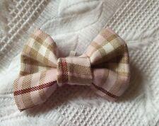 Pink tartan Dog Bow Tie with elastic loop
