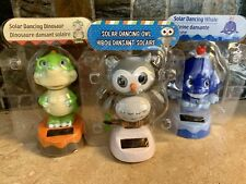 NEW Solar Powered  Dancing OWL WHALE DINOSAUR Bobble Head Toy Sun Catcher Lot