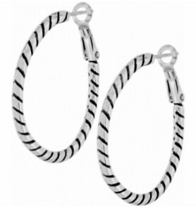 Brighton Silver OVAL Twist Ear Charm HOOP earrings NWT 🔥