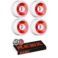 Bones Skateboard Wheels 52mm 100's White With Reds Bearings