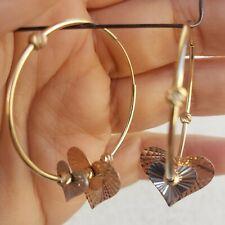 "Diamond cut 14k gold round hoop hearts earrings 2"" long 3 color"