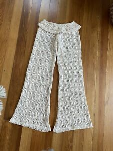Elan Beach Cream Crochet Flare Pants size M medium tulum