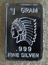 "1 gram .999 Fine Solid Silver Bullion Mini Art-Bar, New: "" INDIAN CHEIF """