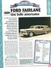 Ford fairlane 1955 USA Car Auto FICHE FRANCE