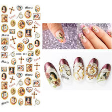 Nail Water Decals Maria Cross Clock Pattern Manicure Nail Art Transfer Stickers