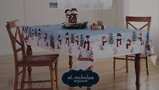 St Nicholas Square Woodland Retreat Snowman Border 60x84 Oblong Tablecloth NIP