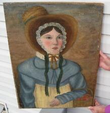 18Th Century Colonial ? Primitive Antique Oil On Canvas Painting 1800'S Bonnet