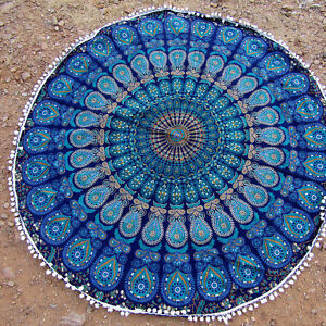 Indian Blue Tapestry Mandala Pompom Round Cotton Beach Blanket Throw Table Cover