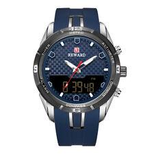 Men's Digital Analog Quartz Watches Luxury Blue Silicone Band Blue&Black Dial