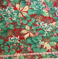 100% Cotton Fabric Red with Large Green Leaves/Pink Berries/Pinecones/Ivy