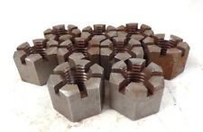 """Slotted Hex Nut, 1-1/8-7, 1-13/16 Hex Size, 1-3/8"""" Height, Lot Of 9"""