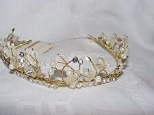 GORGEOUS PRONUPTIA  BRIDAL BRIDESMAID TIARA HEADBAND GOLD PEARL CRYSTAL LEAF