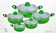 5pc Ceramic Coated Non Stick Die-Cast Casserole Set INDUCTION Cookware GREEN -R
