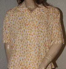 Viscose Bluse weiß Blüten - Musterchen in gelb und lachs nw 40