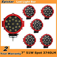6X 7inch 51W Epistar Round LED Offroad Work Light Spot Driving Lamp UTE Jeep Red