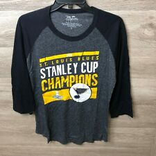 Majestic Womens Large Navy St. Louis Blues 2019 Stanley Cup Champions 3/4 Sleeve