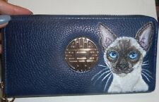 Siamese Cat Hand Painted Wallet for Women Vegan Leather Wristlet