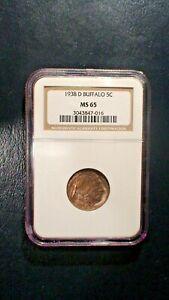 1938 D Buffalo Nickel NGC MS65 GEM UNCIRCULATED 5C Coin Starts At 99 Cents!