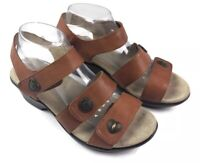ALEGRIA Olivia Cognac Leather Strappy Wedge Sandals Womens Size 40 US 9.5-10