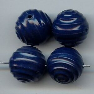 12 VINTAGE NAVY BLUE SPIRAL TWISTED ROUND 18mm. DECO BEADS  6909