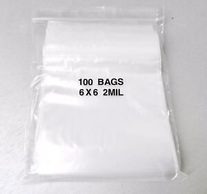 "6x6 Reclosable Bags 100 Clear 2mil Poly Zip Top Slide Locking Baggies 6"" x 6"""