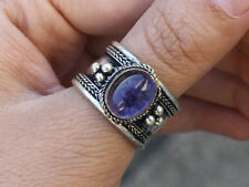 Big Adjustable Tibetan Oval Amethyst Gemstone Multi Weaving Dotted Amulet Ring