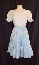 Hand Made 1 Pc Square Dance Dress Costume Vtg No Tags Blue White Belt Rockabilly