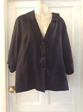 SARA ISABELLA Lagenlook Black Linen Three Quarter Sleeve Jacket. SIZE L
