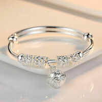Fashion 925 Sterling Silver Plate Bead Bracelet Women Bangle Charm Jewellery