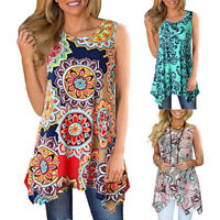 Women Floral Printed Sleeveless Shirt Asymmetrical Loose Tunic Blouse Tops Vest